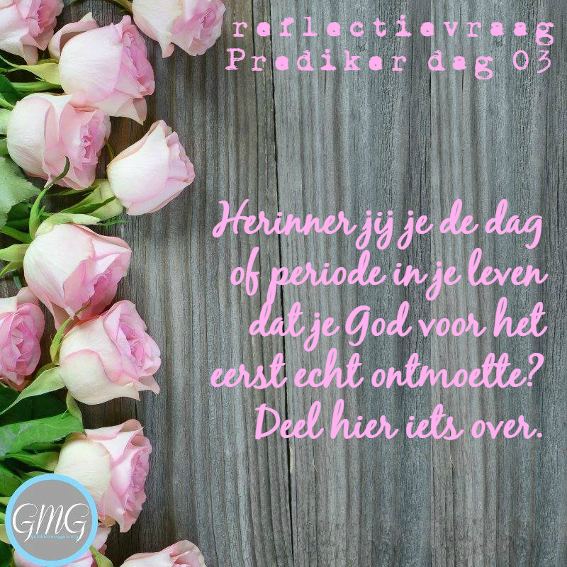 reflectievraag Prediker dag 3, Bijbelstudie Good Morning Girls