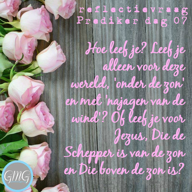 reflectievraag Prediker dag 7, Bijbelstudie Good Morning Girls