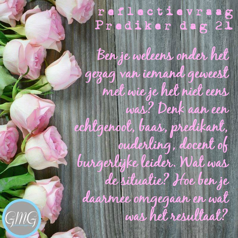 reflectievraag Bijbelstudie Prediker dag 21, Good Morning Girls