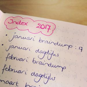 bullet journal index, plannen maand week dag, bujo